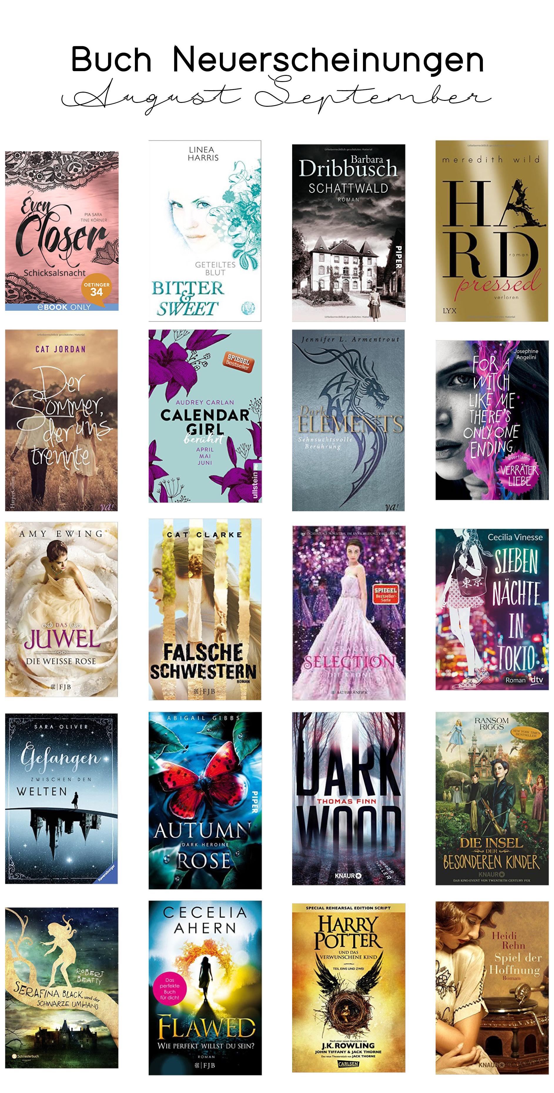 Top Buch Neuerscheinungen im August und September 2016