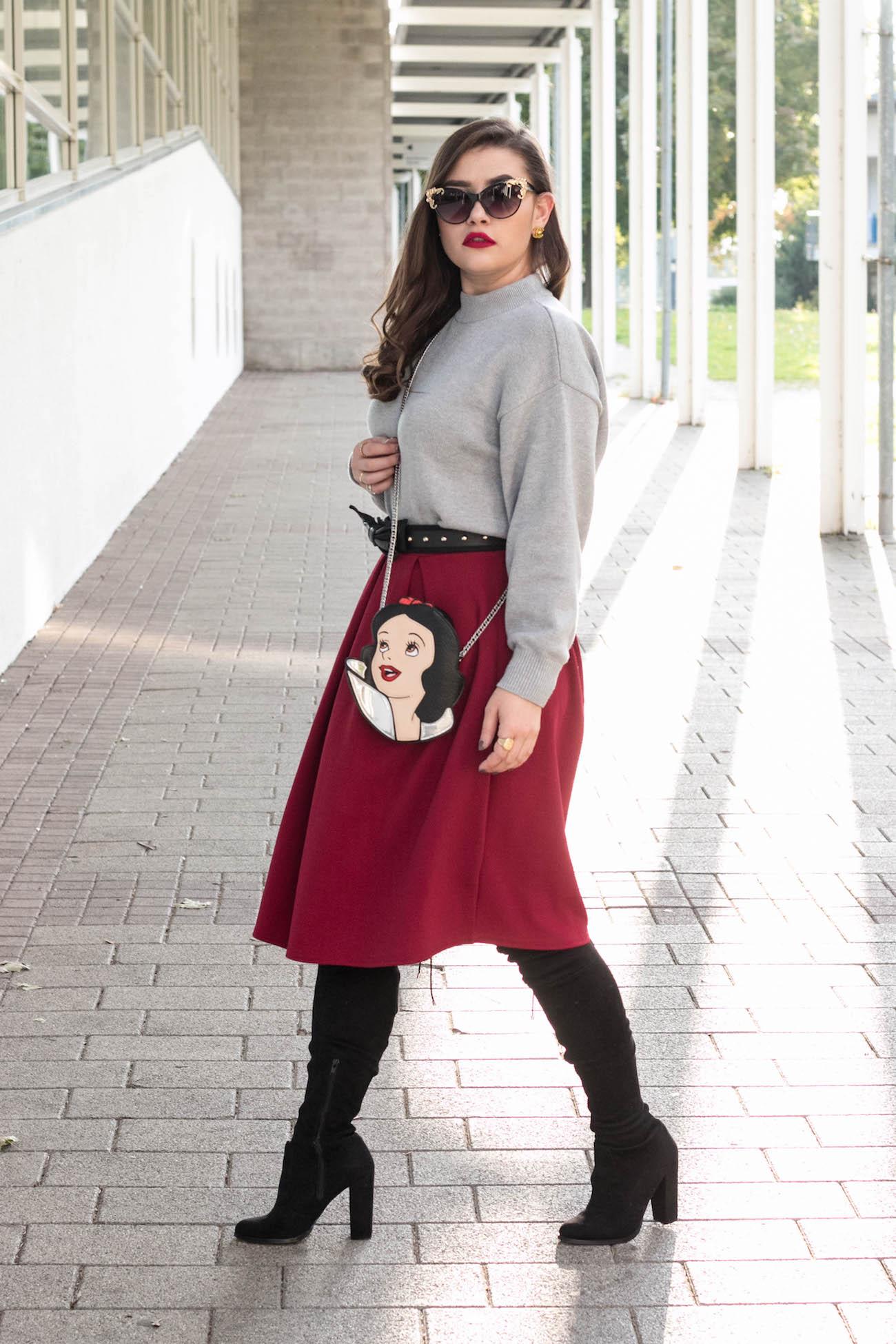 schneewittchen tasche herbst outfit mit midi rock sara bow. Black Bedroom Furniture Sets. Home Design Ideas